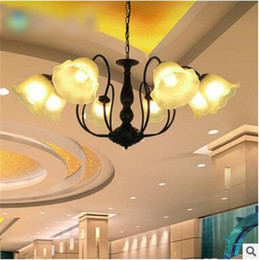 Energy Saving Shades Australia - LRE032-Hotel Decor Retro Wrought Iron and White Glass Shade Pendant Lamps American Style Iron Glass Chandelier