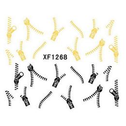 $enCountryForm.capitalKeyWord Canada - Fashion Cool Golden Black Zipper Shape Nail Water Transfer Decals Art Stickers Decoration DIY XF1268