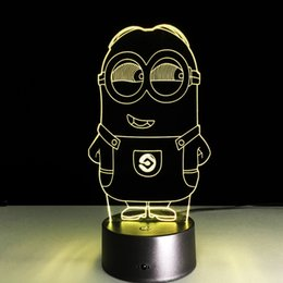 minions night lamp UK - 2016 Minion Style 3D Optical Illusion Lamp Night Light DC 5V USB Charging 5th Battery Wholesale Dropshipping Free Shipping
