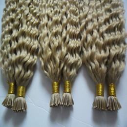 100 g / strengen 3 bundels Remy Hair Extensions Keratin I Tip Hair Extensions Blonde Braziliaanse Kinky Krullend Menselijk Hair Extensions Keratin