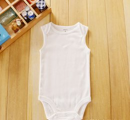 $enCountryForm.capitalKeyWord Canada - 50pcs Baby Rompers Suit Summer Infant Triangle Romper Onesies 100% cotton sleeveless babies clothes pure white for boy girlbestgift