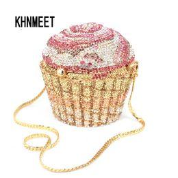 $enCountryForm.capitalKeyWord NZ - Designer Brand Luxury Crystal Evening Bag Fashion Cupcake Diamond Clutch Soiree Purse Women Wedding Bride Cake Handbags SC515