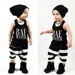 Baby Girl Summer Suits Canada - 2016 high quality baby suits Summer style kids boys girls BAE WATCH letter printed Clothes Infant Outfits black tank top+long Pants boy Sets