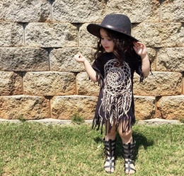 Les Petites Robes Noires Et Noires Pas Cher-Summer Fashion Cute Baby Girls Tassels Robe Classic Kids Black Long Tops Robe à manches courtes en coton Coton Robes Causal 11516