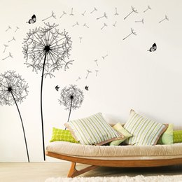 Living Room Bedroom Furniture NZ - large black dandelion flower wall stickers home decoration living room bedroom furniture art decals butterfly murals