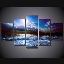 $enCountryForm.capitalKeyWord NZ - 5 Pcs Set Framed Printed moon moonlight night nature Painting Canvas Print room decor print poster picture canvas Free shipping ny-4534