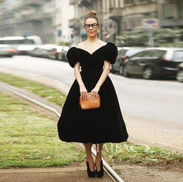 Puffed Sleeve Ball Gowns Canada - New Fashion 2016 High Quality Women's sweet street style Elegant Puff sleeve Noble Solidy Off shoulder Velvet Ball Gown Dress