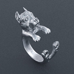 Animal Rings Jewelry Canada - Free shipping retro punk America Pit Bull Terrier Ring free size hippie animal pit bull dog Ring jewelry for pet lovers