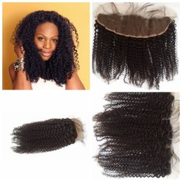 KinKy curly front closure online shopping - Cheap Indian Lace Frontal Kinky Curly x4 Lace Front Closure Natural B Pieces With Bleached Knots G EASY Lace Frontal