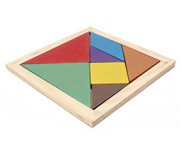 Discount tangram puzzles for kids Free Shipping Hot Sale 2017 Mental Development Tangram Wooden Jigsaw Puzzle Educational Toys for Kids Christmas Jigsaw Board