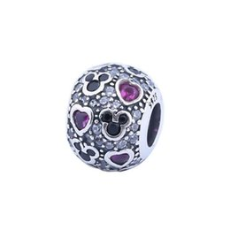 Wholesale New Sparkling Mic key Hearts Charm Beads Fits Pandora Bracelets Authentic Sterling Silver Red Black Pave Crystal Charm DIY Jewelry HB266
