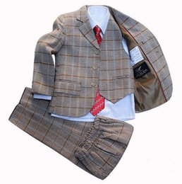Chinese  Boys Blazer jacket suit 3 piece Plaid Clothing set Kids clothes Formal dress for Baby Boy Blazers sets Children Wedding Suits manufacturers
