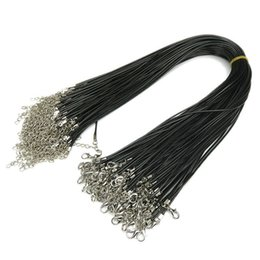China Black Wax Leather Snake Necklaces Beading Cord String Rope Wire 45cm Extender Chain with Lobster Clasp Jewelry DIY Line Chains 1.5mm 2mm cheap jewelry extender chains suppliers
