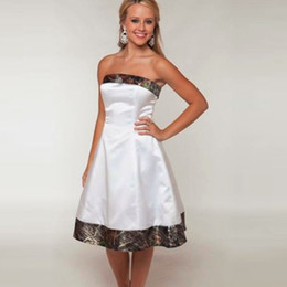 Strapless Satin Short Wedding Dresses Australia - 2016 New Real Pictures Camo Weddings Camouflage Bridesmaid Dresses 2016 Custom Made Short White Girl Strapless Wedding Party Gowns