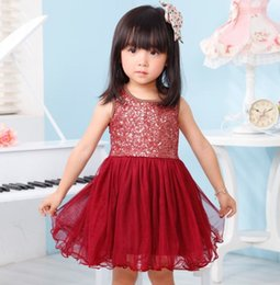 Barato Vestido Do Bebê Do Casamento-Girl Sequin Dress Elegante Baby Girl Lace Tutu Vestido sem mangas Kids Wedding Frocks