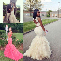 Discount pictures african dress styles - Classic 2017 Two Pieces Prom Dresses Mermaid Style with Lace Crystal Long Evening Gowns Ruffles Backless African Prom Go