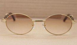 4 cores full frame círculo meatal óculos de sol de alta qualidade Pure natural búfalo preto perna 7550178 óculos de sol retro moda óculos de sol tamanho 57 em Promoção