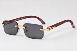 mens wood sunglasses 2018 - 2018 vintage retro brand designer sunglasses wood frame rimless sunglasses for men women glasses come with box mens desi