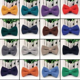 $enCountryForm.capitalKeyWord Australia - Double Knitted Bowtie 24 solid Color bowknot Adjustable Bowties for Father's Day tie Christmas Gift Free TNT Fedex UPS