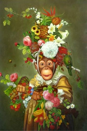 $enCountryForm.capitalKeyWord Canada - Framed Lovely Monkeys,High Quality genuine Hand Painted Animal Portrait Art oil Painting On Thick Canvas in Multi size,Free Shipping