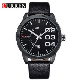 wristwatch curren Australia - CURREN 8125 skin belt calendar personality Large dial Men's Watch business affairs man Fashion Watch Quartz Wristwatches wholesale