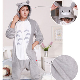 Costumes En Gros Pour Noël Pour Adultes Pas Cher-Gros-2016 New Japan Anime animal Totoro Cosplay Pyjamas One Piece Adulte Onesie Femmes Hommes Chaud Noël Halloween Party Pajama S-