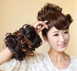 Discount high hair buns - Wholesale-12 colors, Hair Bun Hair Bun Ring Donut Roller Hairpieces Chignon high temperature Synthetic fiber, 1pcs