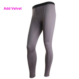 Thermal Black Tights Canada - Wholesale-YD29 Plus Size S-XXL Mens Add Velvet Thermal Sports Pant GYM Compression Wear Base Layer Full Pants Tight Skin Under New 2016