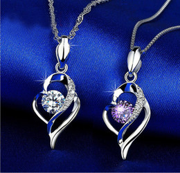 $enCountryForm.capitalKeyWord Australia - 925 Sterling Silver Heart Necklace Jewelry Chain Necklace Fashion Jewelry wholesale manufacturers clavicle