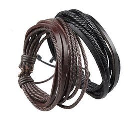 Mens Fashion Leather Bracelets Canada - 600PCS Mens Bracelets Wrap Multilayer Genuine Leather Black and Brown Braided Rope Bracelet for Men and Women Charms Fashion Man Jewelry