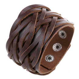 $enCountryForm.capitalKeyWord UK - Fashion Jewelry Skeleton Head Bullet Rock Band Bikers Wide Bangle Rivet Alloy Leather Bracelet Men's Casual Vintage Punk Bracelet B0604