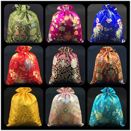 Silk drawString Shoe bagS online shopping - Luxury Floral Chinese Silk Brocade Pouch Bag for Shoes Travel Storage Bag Drawstring Decorating Gift Bags Shoe Dust Cover