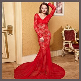 Barato Vestidos De Noite Venda Europeia-Hot Sales 2016 Summer European Style Womens Sexy Lace Bordado Backless Maxi Dress Long Sleeve Deep V-Neck Evening Party Vestidos Vestidos