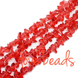 8mm Cube Beads Canada - 5mm-8mm Irregular Gravel Beads Red Glass Freeform Loose Beads 33'' Strand For Woman wholesale DIY (F00285) wholesale