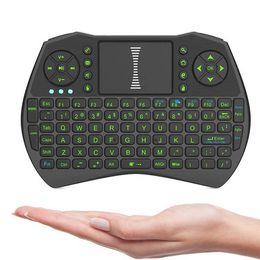 I9 Mini Fly Air Mouse com backlight verde 2.4G Controle Remoto Teclado Sem Fio touchpad para PC Notebook Android TV Box em Promoção