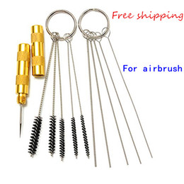 New Arrival Multifuncional 11pcs Airbrush Spray Gun Nozzle Cleaning Repair Tool Kit com aço inoxidável Needle Brush Set