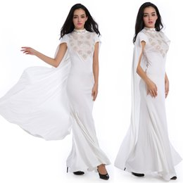 Drape Maxi Robe Sirène Pas Cher-Cloak Paneled Applique Rhinestone Beading Mermaid Long Dress Stand Collar Short Sleeve Hollow Out Loose Maxi Dress Flare Robe de mariée