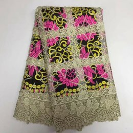 Chinese  5 Yards PC High quality khaki embroidery african water soluble lace and fuchsia flower cotton fabric for clother BW130-6 manufacturers