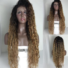 cheap ombre full lace wigs Canada - Cheap Natural Black Omber Brown Long Loose Curly human hair Lace Front Wig Heat Resistant Fiber With Free Parting For Black Women