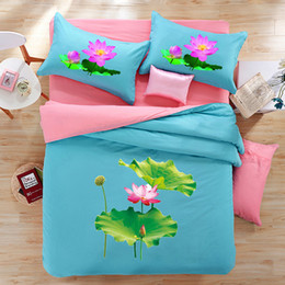 $enCountryForm.capitalKeyWord Australia - 3D Lotus Leaves bedding 4pcs sets blue color cotton print Europe style home duvet cover kit pillow case bedsheet mattress free shipping