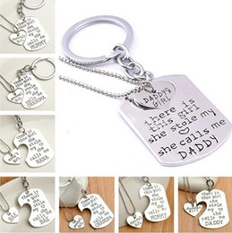 father christmas suits Canada - New Love With A Dog Tag Pendant Keychain Silver Heart-Shaped Alloy Necklace Suit Warm Family Gift For Father and Mother's Day cc701