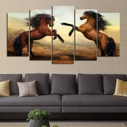 $enCountryForm.capitalKeyWord Canada - 5 Panels Brown Horse Picture Print Painting Modern Canvas Wall Art for Wall Decor Home Decoration Artwork No Frame