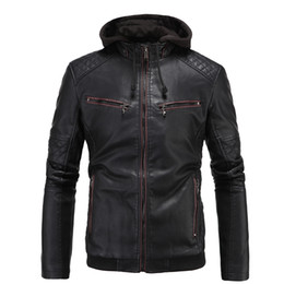 $enCountryForm.capitalKeyWord Canada - Leather Hoodie Jacket For Mens Faux Leather Men Business Outwear Plus Size Thick Mens Motorcycle Cardigan Jacket Coat J161025