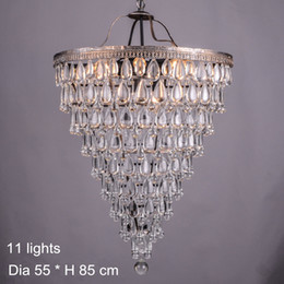vintage bedroom lamp shades Canada - Vintage Retro Crystal Chandeliers Lighting Round Shade E14 Crystal Pendant lamp Living Room Staircase Light Fixture