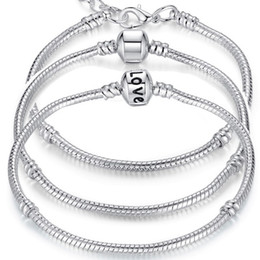 Chinese  Charm Bracelets 925 Sterling Silver 3mm Snake Chain Fit Pandora Charms Bead Bangle Bracelet Fashion Jewelry DIY Gift For Men Women manufacturers