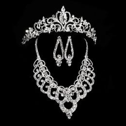$enCountryForm.capitalKeyWord NZ - New Arrival Earring Neck Romantic Bridal Jewellery Set Crystal Wedding Crown Earrings Necklace Tiaras Accessories Fashion Headdress