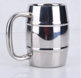 Double Steel Beer Mug Canada - Double-Wall Stainless Steel Drinking Coffee Tea Cup Tub-shaped Beer Mug Beverage Picnic Cup Drinkware