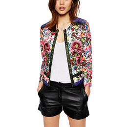 Wholesale spring jacket women Floral Print Embroidered short jacket Vintage Long Sleeve open stitch coats female jaqueta feminina