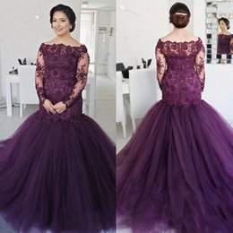 Barato Saia Roxa Mais Tamanho-2017 Dark Purple Mermaid Prom Dresses com mangas compridas Applique Lace Beads Tulle Skirt Plus Size Long Evening Gowns