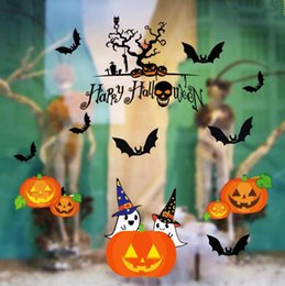 5070cm 8 styles happy halloween household room wall sticker mural decor decal removable skeleton decor halloween decoration gifts kka2819 happy halloween - Halloween Decorations On Sale